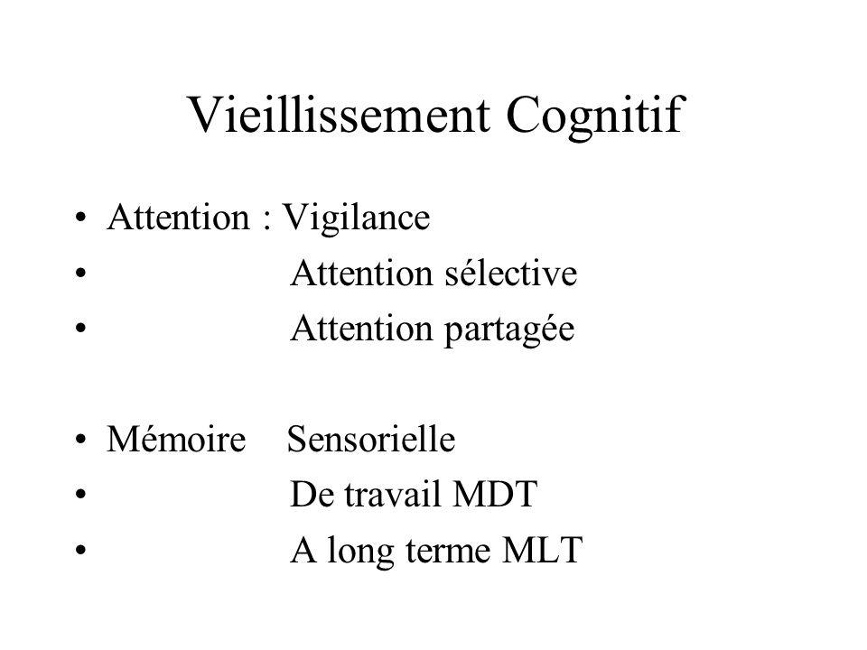Vieillissement Cognitif Attention : Vigilance Attention sélective Attention partagée Mémoire Sensorielle De travail MDT A long terme MLT