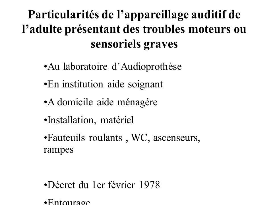 Particularités de lappareillage auditif de ladulte présentant des troubles moteurs ou sensoriels graves Au laboratoire dAudioprothèse En institution a