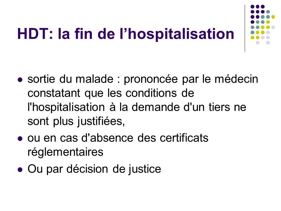 HDT: la fin de lhospitalisation sortie du malade : prononcée par le médecin constatant que les conditions de l'hospitalisation à la demande d'un tiers