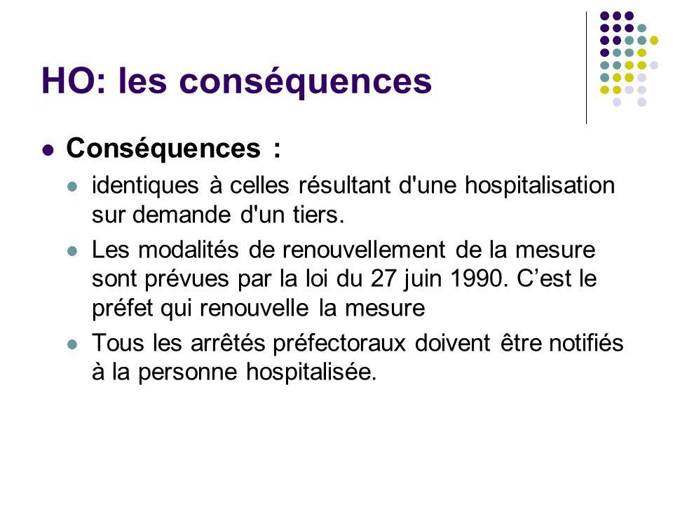 HO: les conséquences Conséquences : identiques à celles résultant d'une hospitalisation sur demande d'un tiers. Les modalités de renouvellement de la