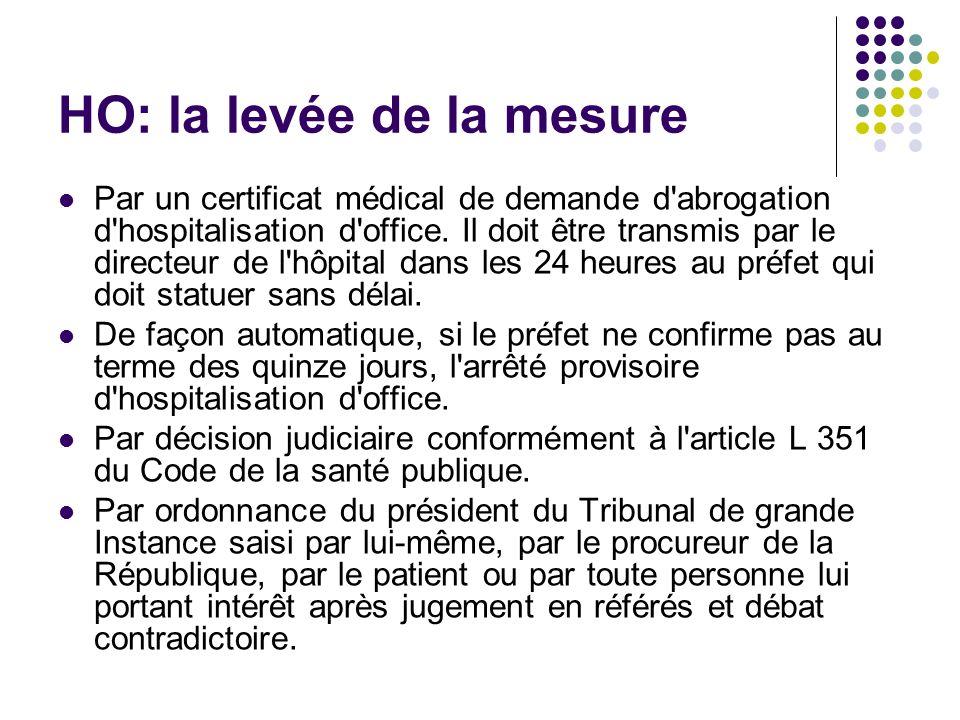 HO: la levée de la mesure Par un certificat médical de demande d'abrogation d'hospitalisation d'office. Il doit être transmis par le directeur de l'hô