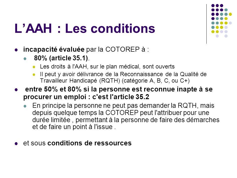 LAAH : Les conditions incapacité évaluée par la COTOREP à : 80% (article 35.1). Les droits à l'AAH, sur le plan médical, sont ouverts Il peut y avoir