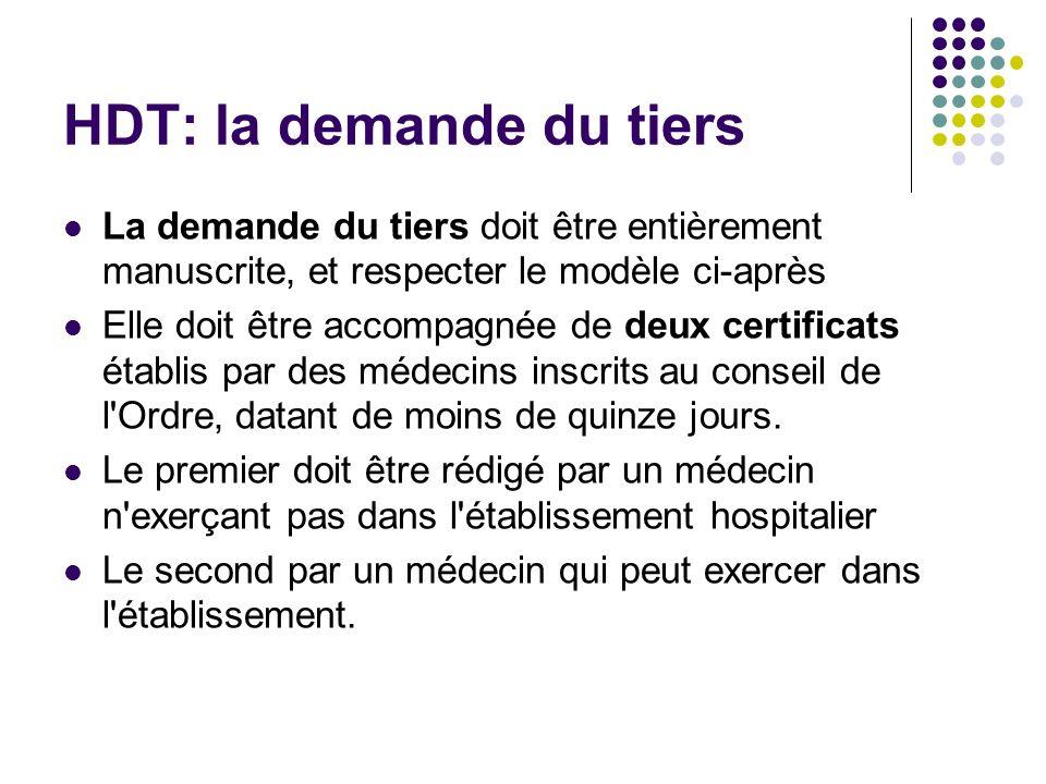 HDT: la demande du tiers La demande du tiers doit être entièrement manuscrite, et respecter le modèle ci-après Elle doit être accompagnée de deux cert