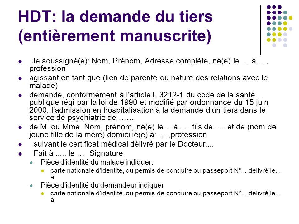 HDT: la demande du tiers (entièrement manuscrite) Je soussigné(e): Nom, Prénom, Adresse complète, né(e) le … à…., profession agissant en tant que (lie