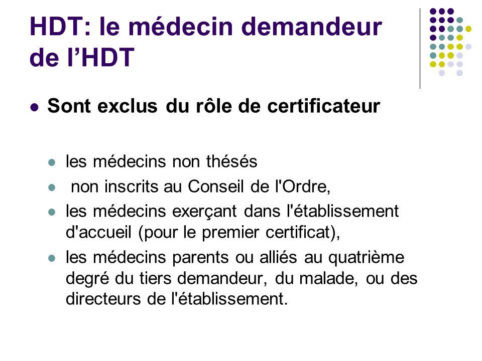 HDT: le médecin demandeur de lHDT Sont exclus du rôle de certificateur les médecins non thésés non inscrits au Conseil de l'Ordre, les médecins exerça