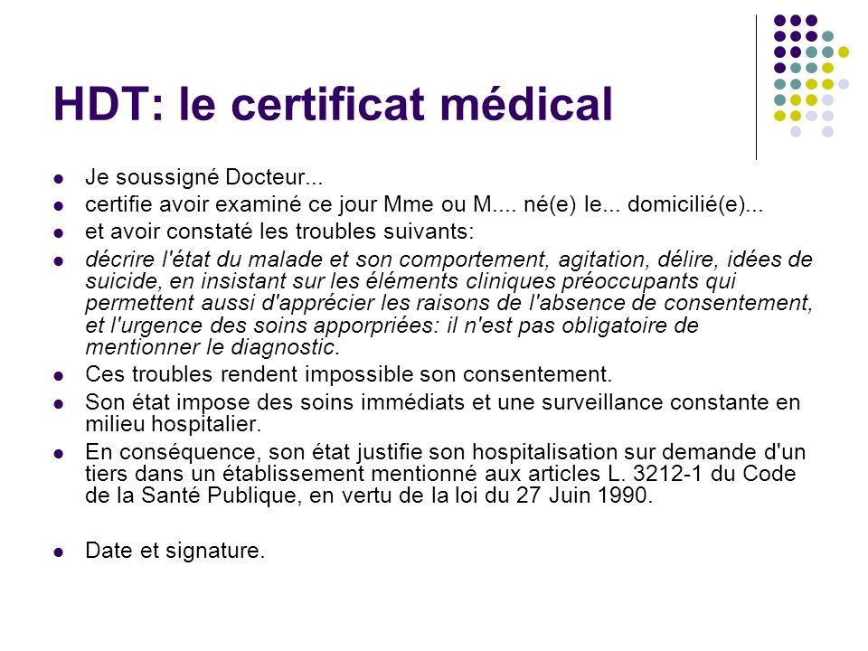 HDT: le certificat médical Je soussigné Docteur... certifie avoir examiné ce jour Mme ou M.... né(e) le... domicilié(e)... et avoir constaté les troub