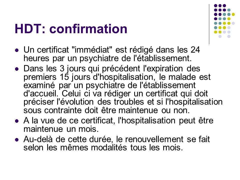 HDT: confirmation Un certificat