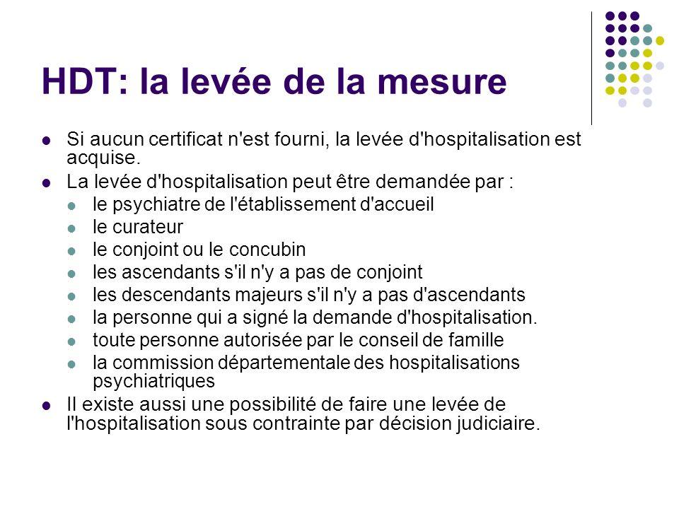 HDT: la levée de la mesure Si aucun certificat n'est fourni, la levée d'hospitalisation est acquise. La levée d'hospitalisation peut être demandée par