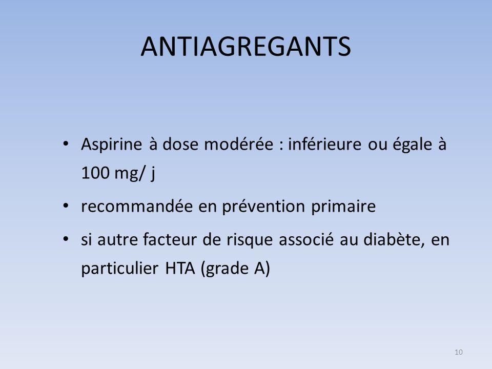 ANTIAGREGANTS Aspirine à dose modérée : inférieure ou égale à 100 mg/ j recommandée en prévention primaire si autre facteur de risque associé au diabè