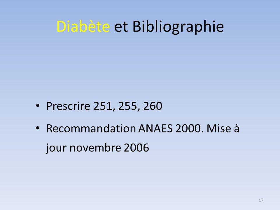 Diabète et Bibliographie Prescrire 251, 255, 260 Recommandation ANAES 2000. Mise à jour novembre 2006 17