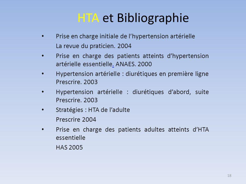 HTA et Bibliographie Prise en charge initiale de lhypertension artérielle La revue du praticien. 2004 Prise en charge des patients atteints dhypertens