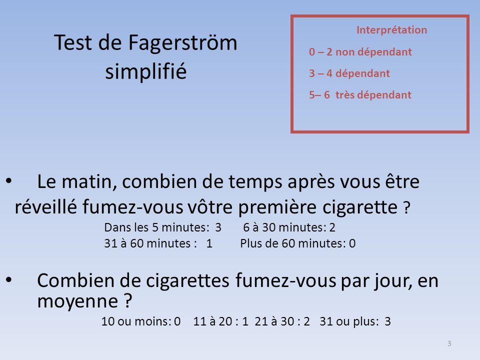 Test de Fagerström simplifié Le matin, combien de temps après vous être réveillé fumez-vous vôtre première cigarette ? Dans les 5 minutes: 3 6 à 30 mi