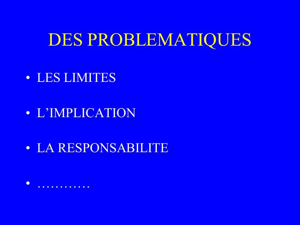 DES PROBLEMATIQUES LES LIMITES LIMPLICATION LA RESPONSABILITE …………