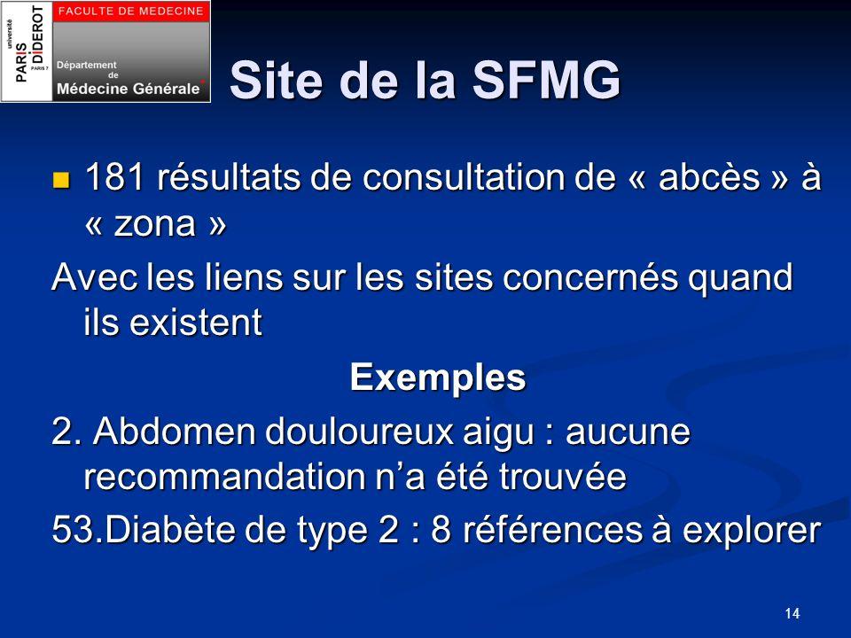 14 Site de la SFMG 181 résultats de consultation de « abcès » à « zona » 181 résultats de consultation de « abcès » à « zona » Avec les liens sur les
