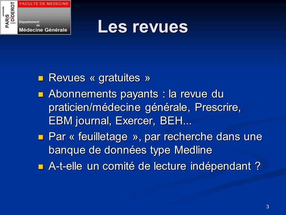 3 Les revues Revues « gratuites » Revues « gratuites » Abonnements payants : la revue du praticien/médecine générale, Prescrire, EBM journal, Exercer,