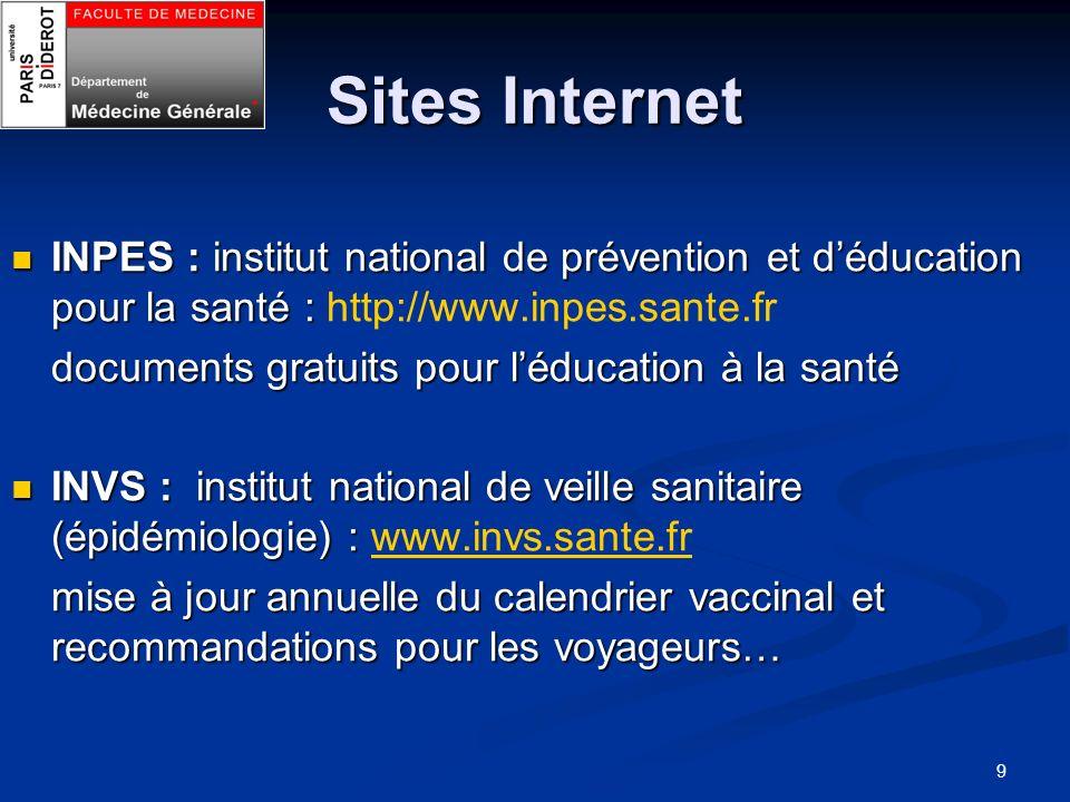 9 Sites Internet INPES : institut national de prévention et déducation pour la santé : INPES : institut national de prévention et déducation pour la s
