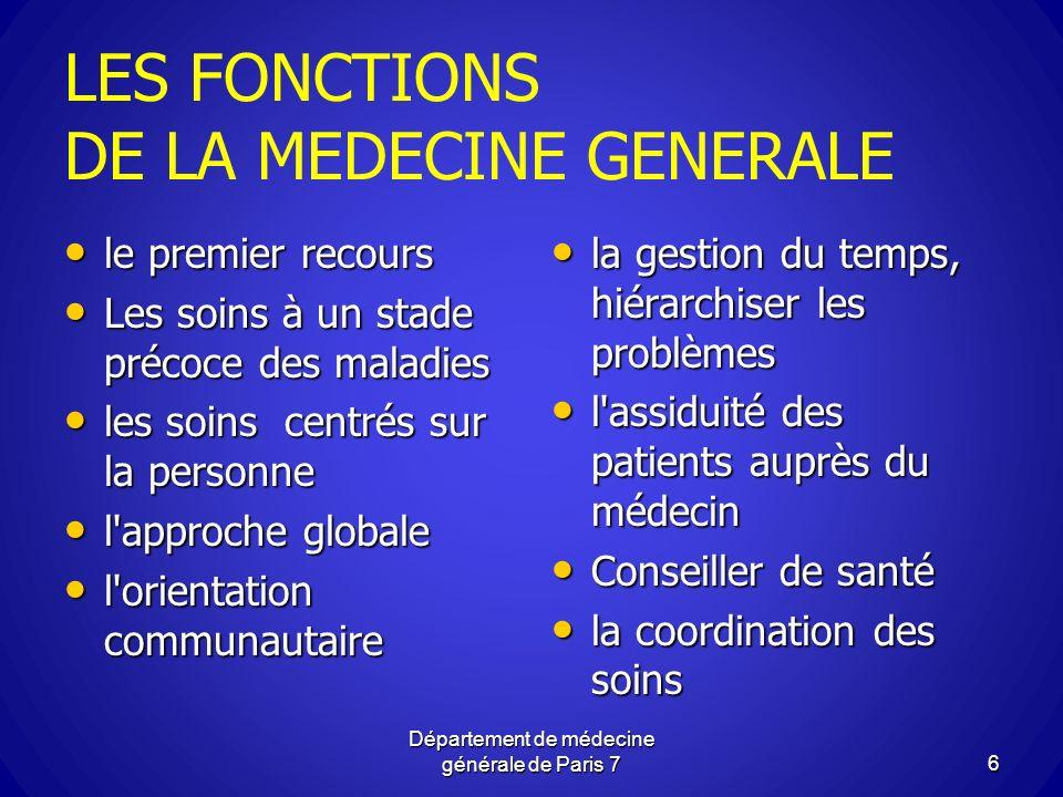 LES FONCTIONS DE LA MEDECINE GENERALE le premier recours le premier recours Les soins à un stade précoce des maladies Les soins à un stade précoce des