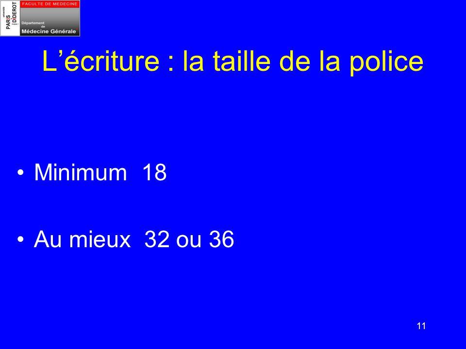 11 Lécriture : la taille de la police Minimum 18 Au mieux 32 ou 36
