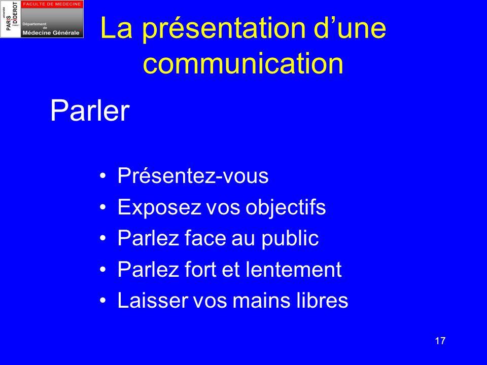 17 La présentation dune communication Présentez-vous Exposez vos objectifs Parlez face au public Parlez fort et lentement Laisser vos mains libres Par