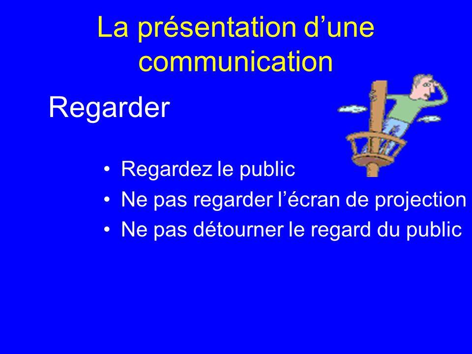 La présentation dune communication Regardez le public Ne pas regarder lécran de projection Ne pas détourner le regard du public Regarder