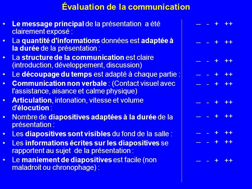 Évaluation de la communication Le message principal de la présentation a été clairement exposé : La quantité d'informations données est adaptée à la d