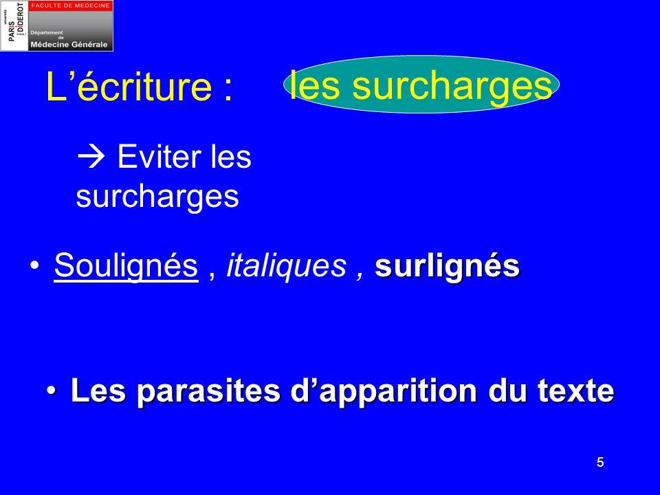 5 Lécriture : Soulignés, italiques, surlignés Eviter les surcharges Les parasites dapparition du texteLes parasites dapparition du texte les surcharge