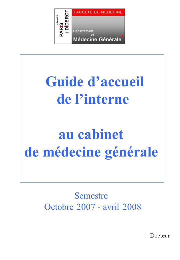 Guide daccueil de linterne au cabinet de médecine générale Docteur Semestre Octobre 2007 - avril 2008