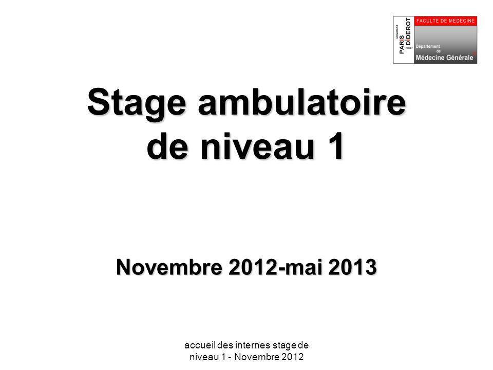 Stage ambulatoire de niveau 1 Novembre 2012-mai 2013 accueil des internes stage de niveau 1 - Novembre 2012