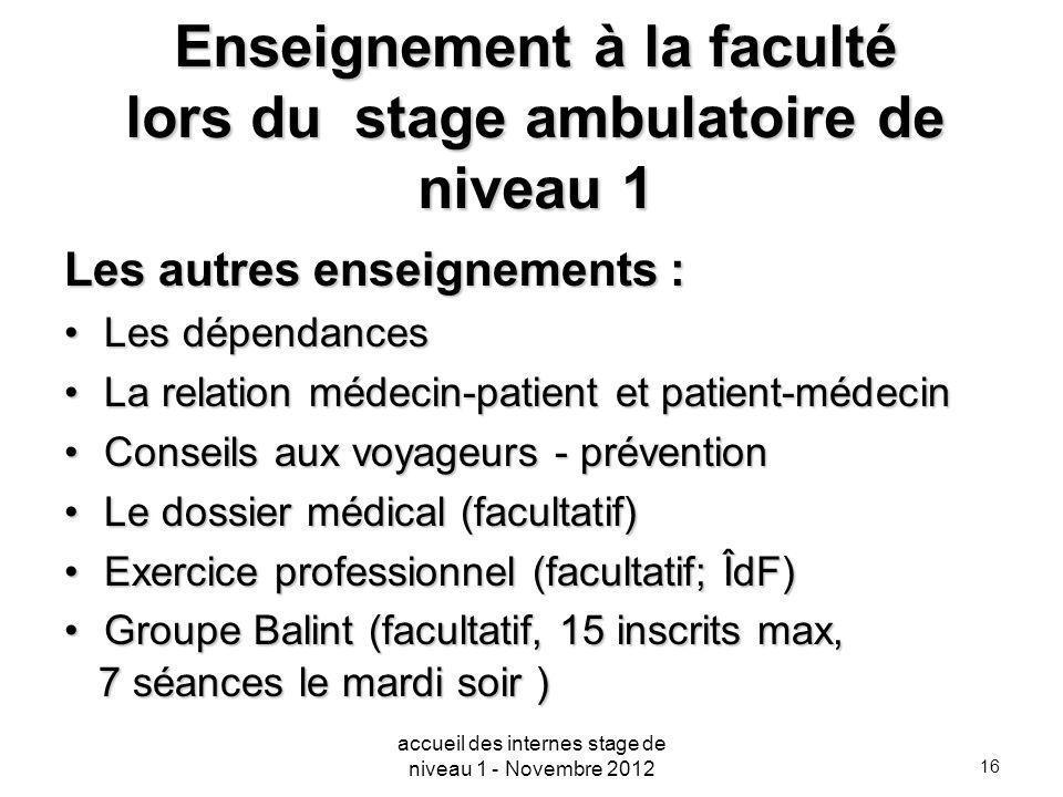 16 Enseignement à la faculté lors du stage ambulatoire de niveau 1 Les autres enseignements : Les dépendancesLes dépendances La relation médecin-patie