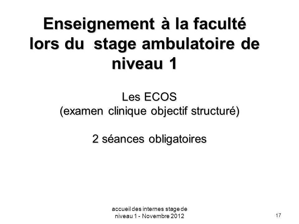 17 Enseignement à la faculté lors du stage ambulatoire de niveau 1 Les ECOS (examen clinique objectif structuré) 2 séances obligatoires accueil des in