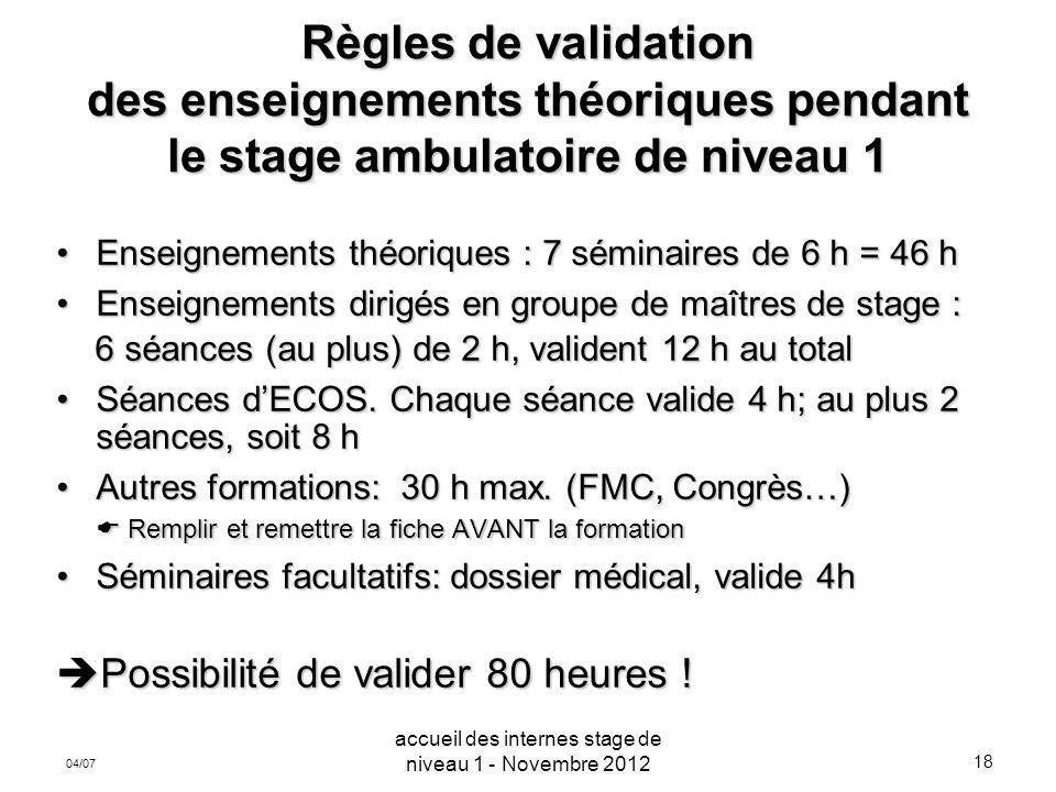 18 04/07 Règles de validation des enseignements théoriques pendant le stage ambulatoire de niveau 1 Enseignements théoriques : 7 séminaires de 6 h = 4