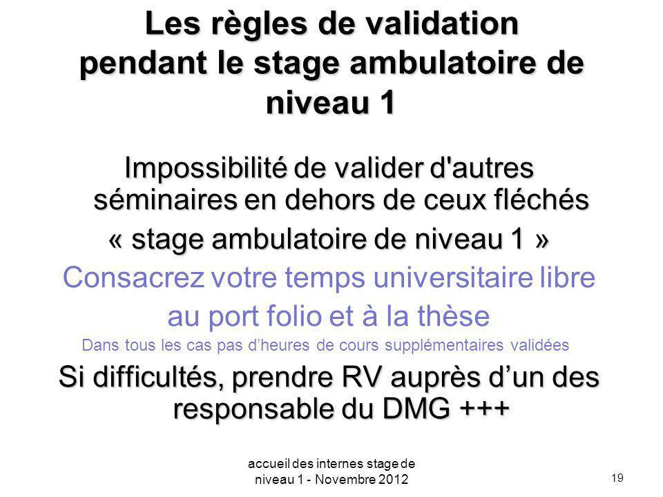 19 Les règles de validation pendant le stage ambulatoire de niveau 1 Impossibilité de valider d'autres séminaires en dehors de ceux fléchés « stage am