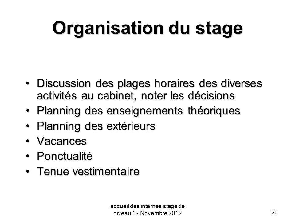 20 Organisation du stage Discussion des plages horaires des diverses activités au cabinet, noter les décisionsDiscussion des plages horaires des diver