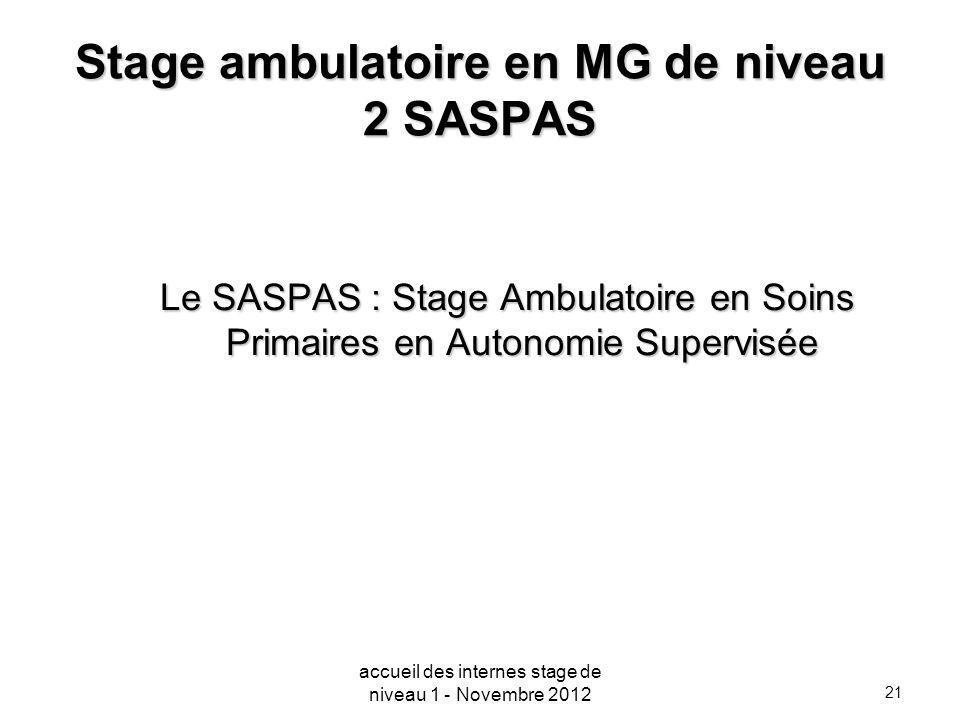 21 Stage ambulatoire en MG de niveau 2 SASPAS Le SASPAS : Stage Ambulatoire en Soins Primaires en Autonomie Supervisée accueil des internes stage de n