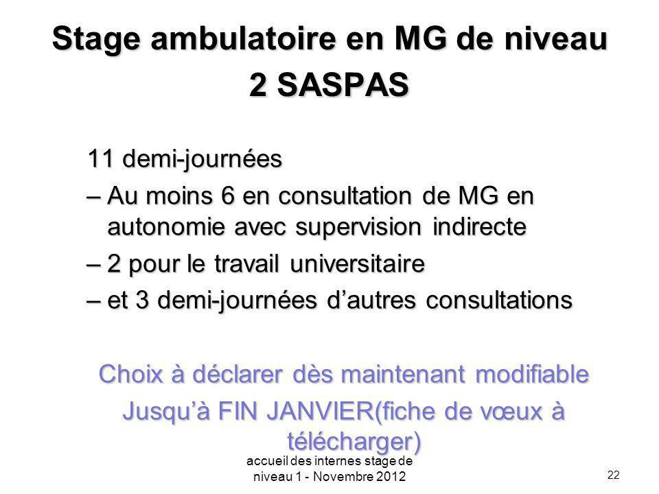 22 Stage ambulatoire en MG de niveau 2 SASPAS 11 demi-journées –Au moins 6 en consultation de MG en autonomie avec supervision indirecte –2 pour le tr