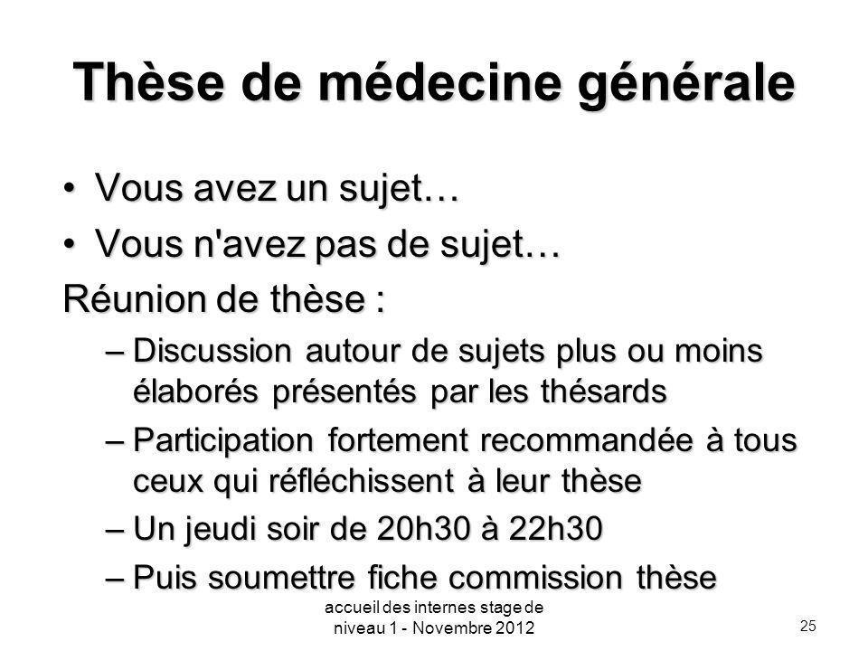 25 Thèse de médecine générale Vous avez un sujet…Vous avez un sujet… Vous n'avez pas de sujet…Vous n'avez pas de sujet… Réunion de thèse : –Discussion