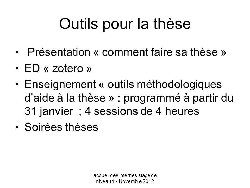 Outils pour la thèse Présentation « comment faire sa thèse » ED « zotero » Enseignement « outils méthodologiques daide à la thèse » : programmé à part