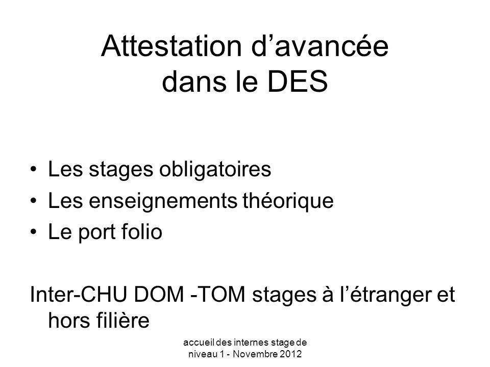 Attestation davancée dans le DES Les stages obligatoires Les enseignements théorique Le port folio Inter-CHU DOM -TOM stages à létranger et hors filiè