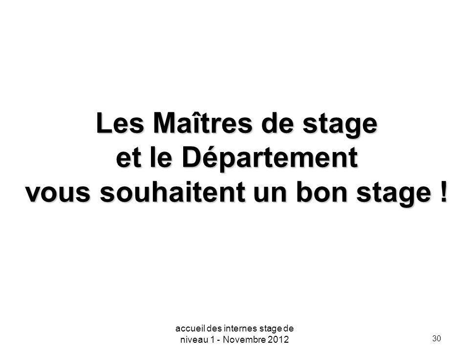 30 Les Maîtres de stage et le Département vous souhaitent un bon stage ! accueil des internes stage de niveau 1 - Novembre 2012