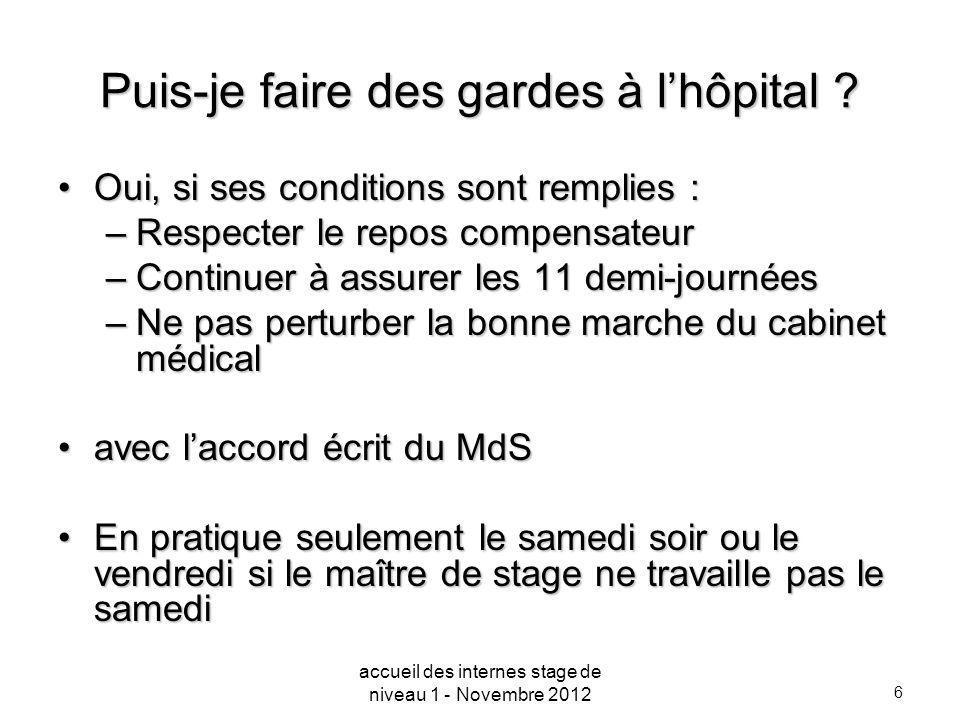 6 Puis-je faire des gardes à lhôpital ? Oui, si ses conditions sont remplies :Oui, si ses conditions sont remplies : –Respecter le repos compensateur
