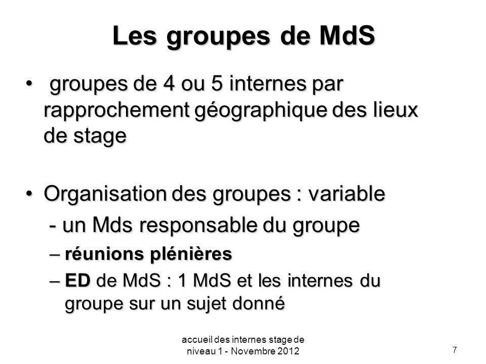7 Les groupes de MdS groupes de 4 ou 5 internes par rapprochement géographique des lieux de stage groupes de 4 ou 5 internes par rapprochement géograp