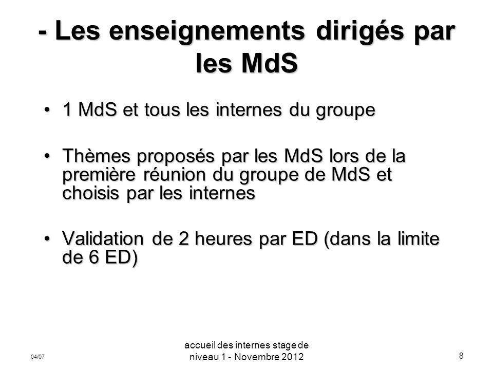 8 04/07 - Les enseignements dirigés par les MdS 1 MdS et tous les internes du groupe1 MdS et tous les internes du groupe Thèmes proposés par les MdS l