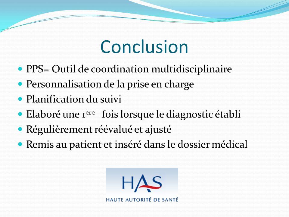 Conclusion PPS= Outil de coordination multidisciplinaire Personnalisation de la prise en charge Planification du suivi Elaboré une 1 ère fois lorsque