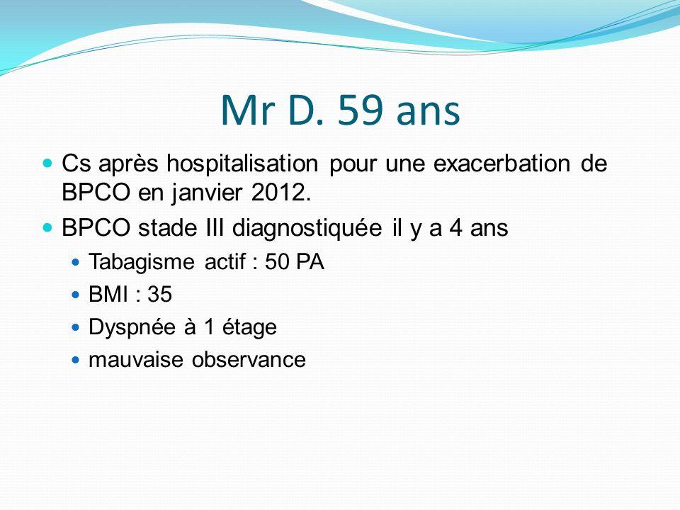 Mr D. 59 ans Cs après hospitalisation pour une exacerbation de BPCO en janvier 2012. BPCO stade III diagnostiquée il y a 4 ans Tabagisme actif : 50 PA