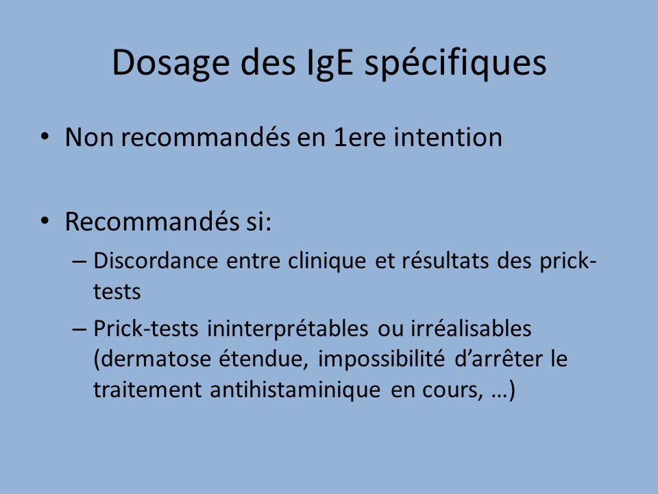 Dosage des IgE spécifiques Non recommandés en 1ere intention Recommandés si: – Discordance entre clinique et résultats des prick- tests – Prick-tests