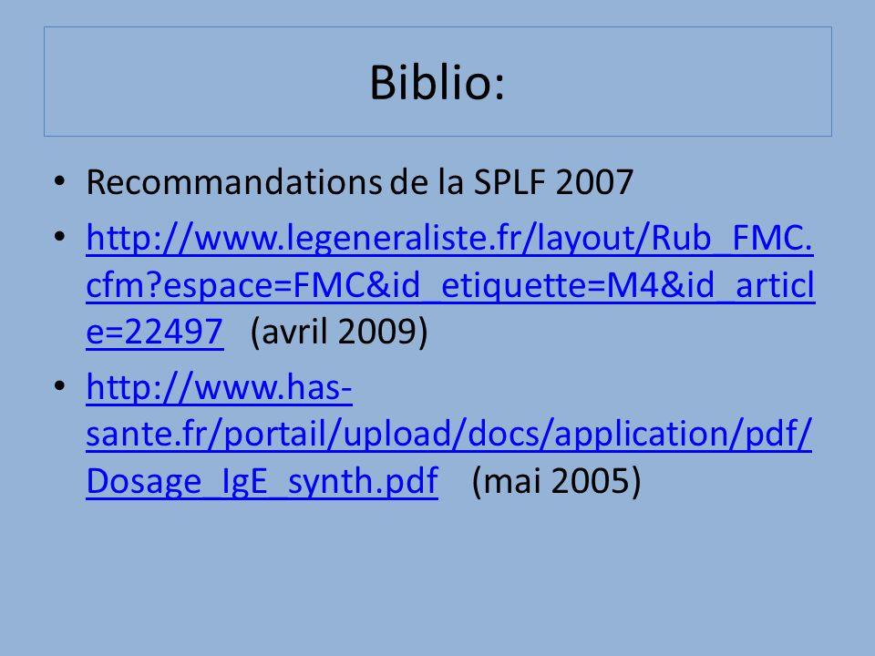 Biblio: Recommandations de la SPLF 2007 http://www.legeneraliste.fr/layout/Rub_FMC. cfm?espace=FMC&id_etiquette=M4&id_articl e=22497 (avril 2009) http
