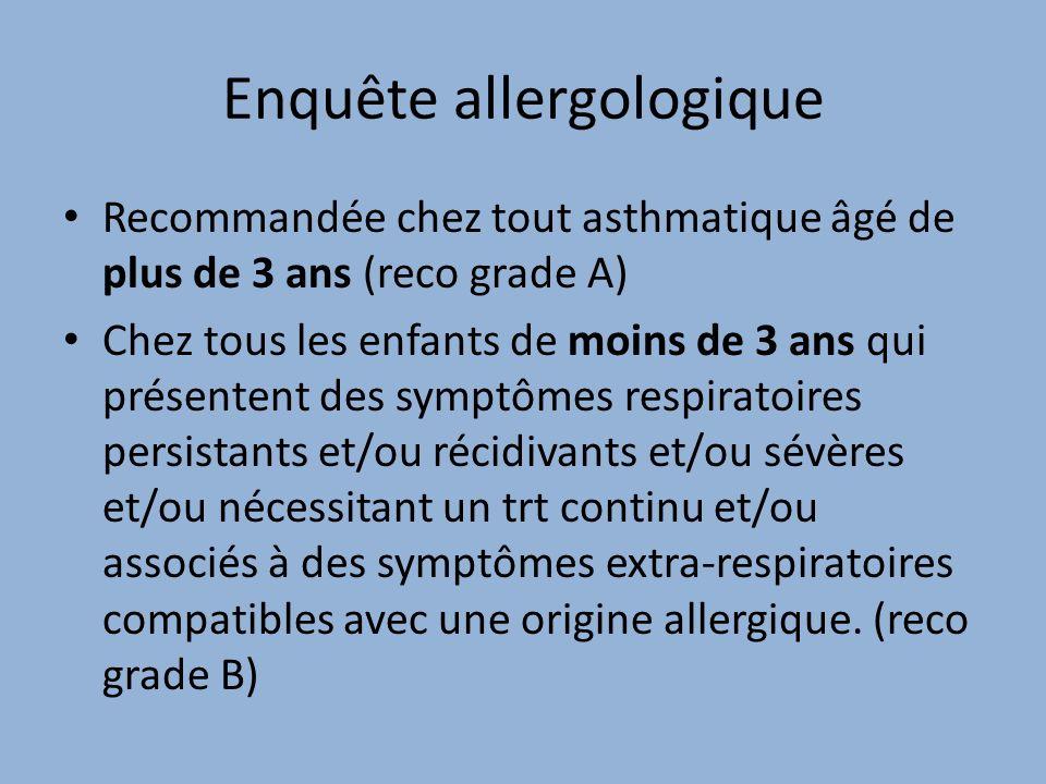 Enquête allergologique Recommandée chez tout asthmatique âgé de plus de 3 ans (reco grade A) Chez tous les enfants de moins de 3 ans qui présentent de