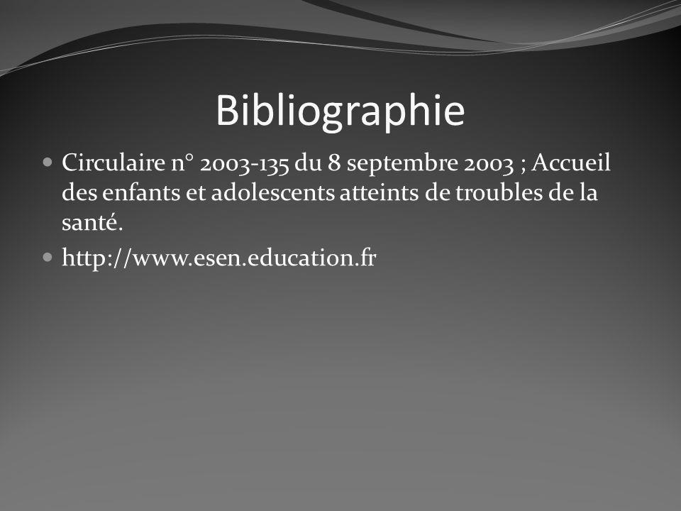 Bibliographie Circulaire n° 2003-135 du 8 septembre 2003 ; Accueil des enfants et adolescents atteints de troubles de la santé. http://www.esen.educat