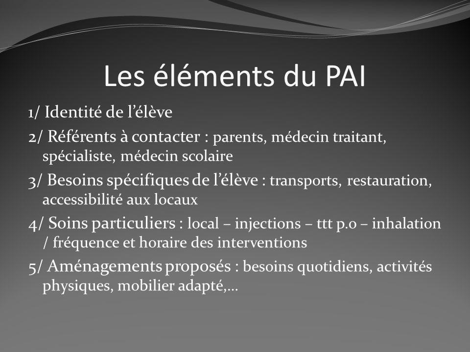 Les éléments du PAI 1/ Identité de lélève 2/ Référents à contacter : parents, médecin traitant, spécialiste, médecin scolaire 3/ Besoins spécifiques d