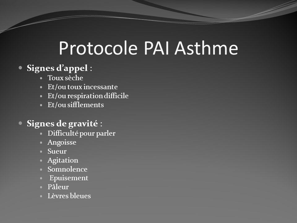 Protocole PAI Asthme Signes dappel : Toux sèche Et/ou toux incessante Et/ou respiration difficile Et/ou sifflements Signes de gravité : Difficulté pou